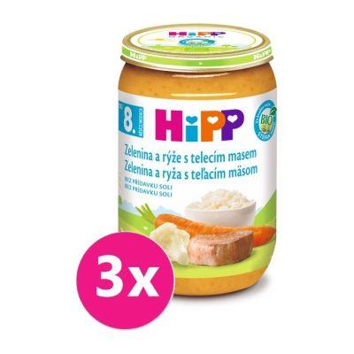 3x HiPP BIO Zelenina s rýží a telecím masem (220 g) - maso-zeleninový příkrm