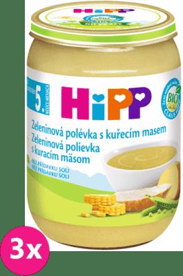 3x HIPP BIO zeleninová polévka s kuřecím masem (190 g) – maso-zeleninový příkrm