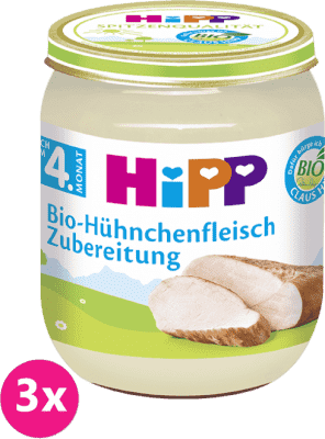 3x HiPP BIO kuřecí maso (125 g) - masový příkrm