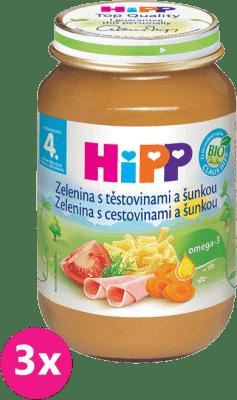 3x HIPP BIO Zelenina s těstovinami a se šunkou (190 g) - maso-zeleninový příkrm