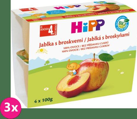 3x HiPP BIO Jablka s broskvemi (4x 100 g) - ovocný příkrm
