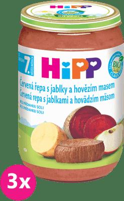 3x HiPP BIO Červená řepa s jablky a hovězím masem (220 g) - maso-zeleninový příkrm