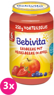 3x BEBIVITA Jablka s jahodami a borůvkami (250 g) – ovocný příkrm