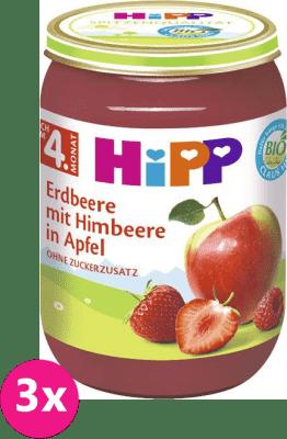 3x HiPP BIO Jablka s jahodami a malinami, 190 g - ovocný přírkm