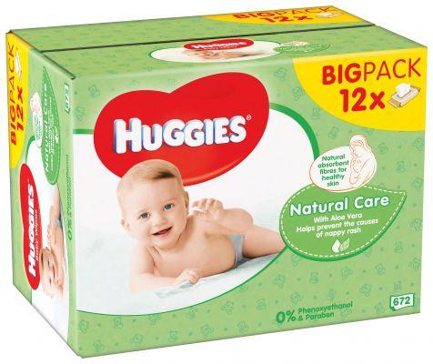 12x HUGGIES® Quatro Pack Natural Care 56 ks - vlhčené ubrousky