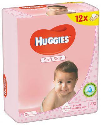 12x HUGGIES® Quatro Pack Soft Skin 56 ks - vlhčené ubrousky