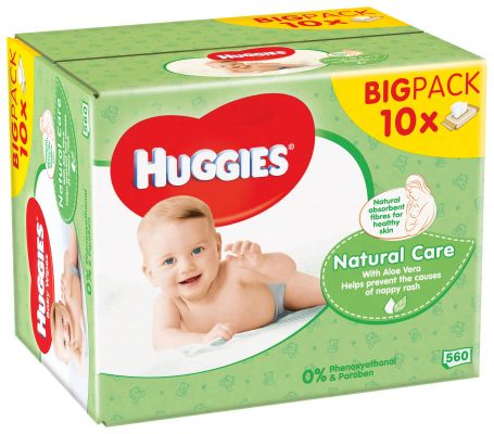 10x HUGGIES® Single Natural Care 56 ks - vlhčené ubrousky