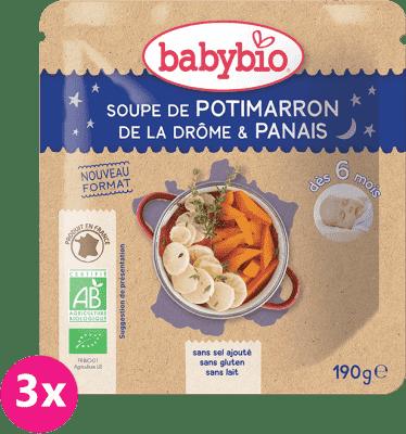 3x BABYBIO Dýňová polévka s pastinákem (190 g)