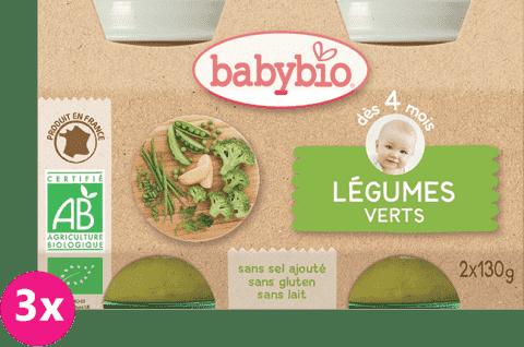 3x BABYBIO Příkrm zelená zelenina 2 x 130 g