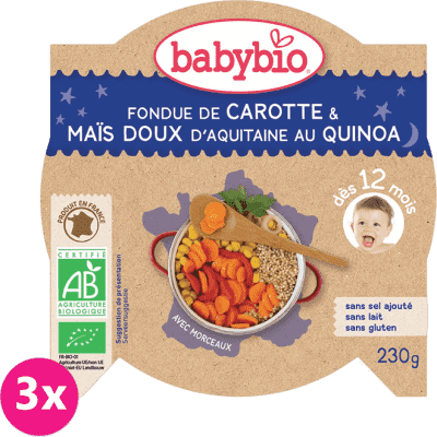 3x BABYBIO Večerní menu mrkev a sladká kukuřice s quinoa (230 g)