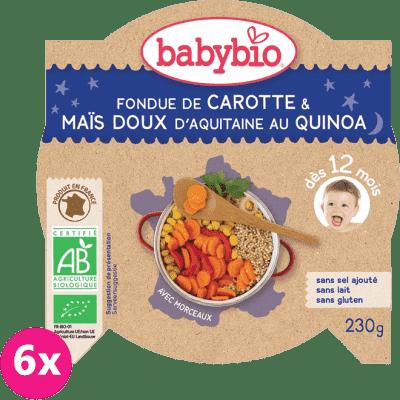 6x BABYBIO Večerní menu mrkev a sladká kukuřice s quinoa (230 g)