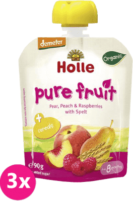 3x HOLLE Bio Ovocné pyré hruška, broskev, maliny se špaldou, 90 g