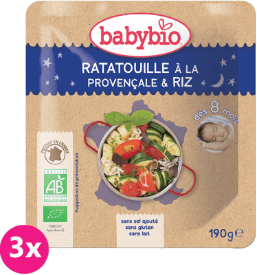 3x BABYBIO Ratatouille po prowansalsku z ryżem 8m+ (190 g) – obiadek warzywny