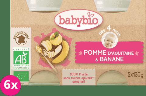6x BABYBIO Příkrm jablko banán (2x130g)