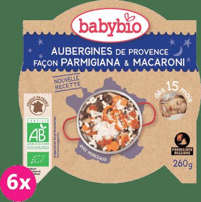 6x BABYBIO Večerní menu lilek na způsob parmigiana s makarony 260 g