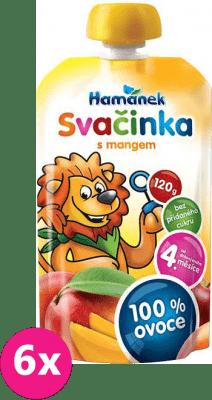 6x HAMÁNEK Svačinka 100% ovoce s mangem, (120 g) - ovocný příkrm EXPIRACE 20.07.2021