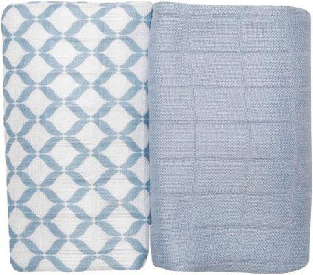 MOTHERHOOD Premium bambusové mušelínové ubrousky 70x70 (2 ks) – Classics modré