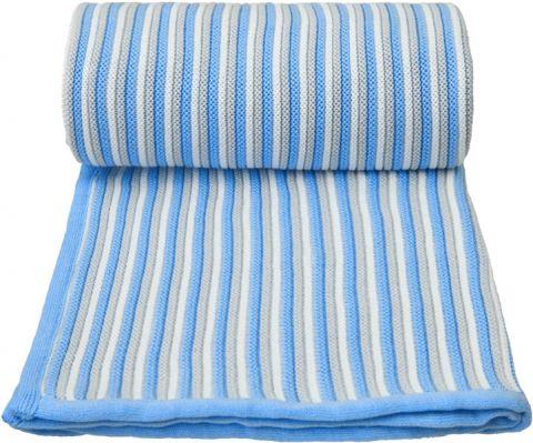 T-TOMI Pletená deka, bílo-modrá