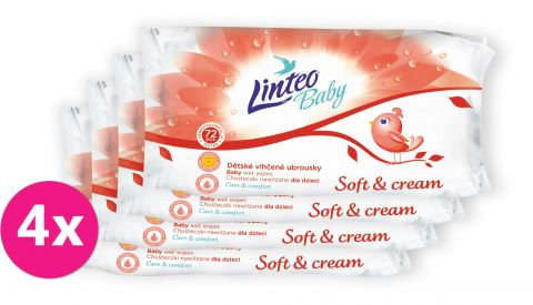 4x LINTEO Baby vlhčené ubrousky Soft & Cream 72 ks