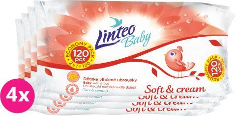 4x LINTEO Baby vlhčené ubrousky Soft & Cream 120 ks