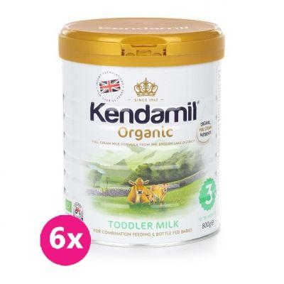 6x KENDAMIL 100% BIO/organické plnotučné batolecí mléko 3 (800g)
