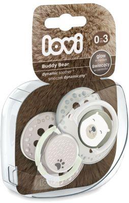 LOVI Šidítko silikonové symetrické dynamické Buddy Bear (0-3m) 2 ks