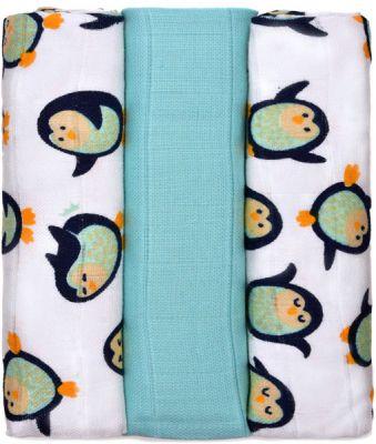 T-TOMI BIO Bambusové pleny, sada 3 ks, 70 x 70 cm – penguins