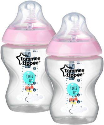 TOMMEE TIPPEE Kojenecká láhev C2N 2 ks, 260 ml (0 m+) – růžová