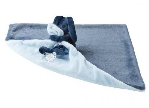 NATTOU Koc pluszowy z przytulanką Lapidou 48cm x 48cm – light blue