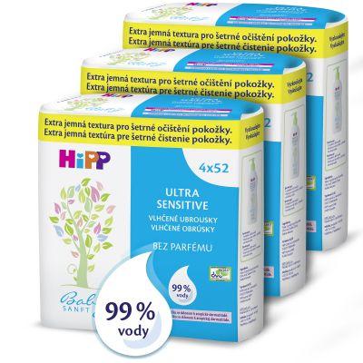 3x HIPP Babysanft Ultra sensitive (4x) 52 ks - vlhčené ubrousky bez parfému