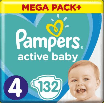 PAMPERS Active Baby 4 (9-14 kg) 132 ks MEGA PACK – jednorázové pleny