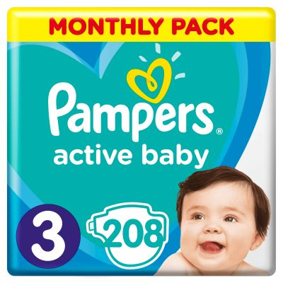PAMPERS Active Baby 3 (6-10 kg) 208 ks MESAČNÁ ZÁSOBA – jednorazové plienky