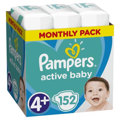 PAMPERS Active Baby 4+ (10-15 kg) 152 ks MĚSÍČNÍ ZÁSOBA – jednorázové pleny