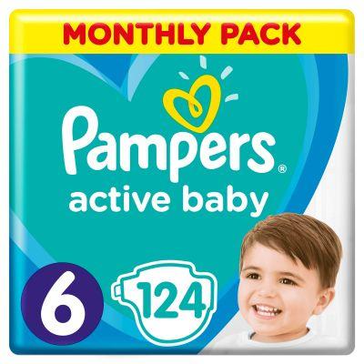 PAMPERS Active Baby 6 (13-18 kg) 124 ks MESAČNÁ ZÁSOBA – jednorazové plienky