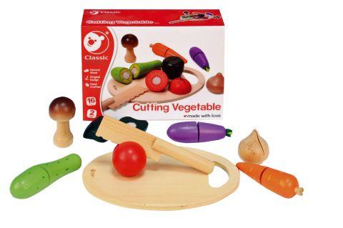 TEDDIES Zelenina krájecí s prkénkem dřevěná 16 ks