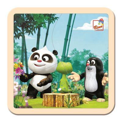 BINO Krtek a Panda v lese dřevěné puzzle 4 dílky