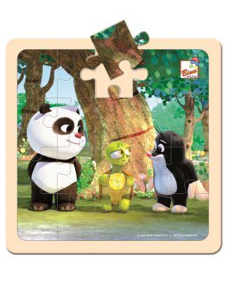 BINO Krtek a Panda s želvou dřevěné puzzle 20 dílků