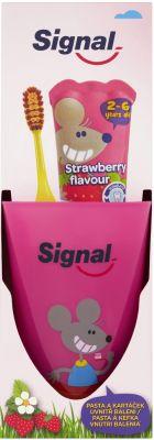 SIGNAL Signal Strawberry SET (dětská zubní pasta 50ml + Signal Kids zubní kartáček měkký + kelímek)