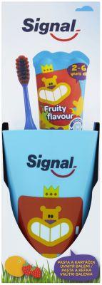 SIGNAL Signal Signal Fruity SET (dětská zubní pasta 50ml + Signal Kids zubní kartáček měkký + kelíme