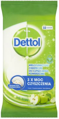DETTOL Antibakteriální ubrousky na povrchy 36 ks – Zelené jablko