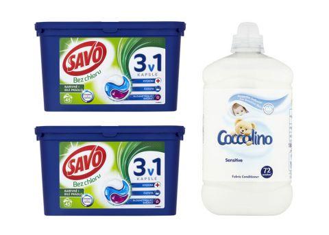 SAVO Kapsułki do prania+ prezent Coccolino płyn do płukania