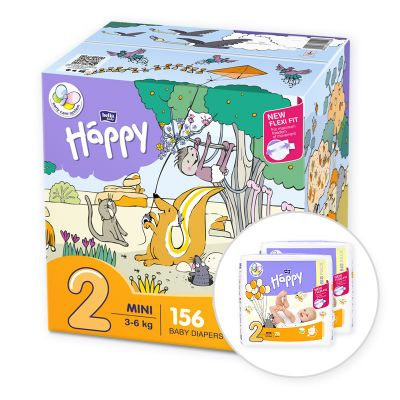 BELLA HAPPY Mini 2 Big TOY BOX (3-6 kg) 156 ks – jednorázové plenky