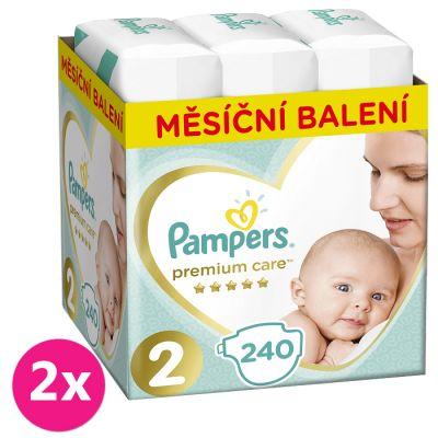 2x PAMPERS Premium Care 2 MINI 240 ks (3-6 kg) MĚSÍČNÍ ZÁSOBA – jednorázové pleny