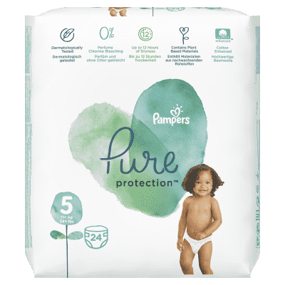PAMPERS Pure Protection S5, 24 ks (11-16 kg) – jednorázové pleny