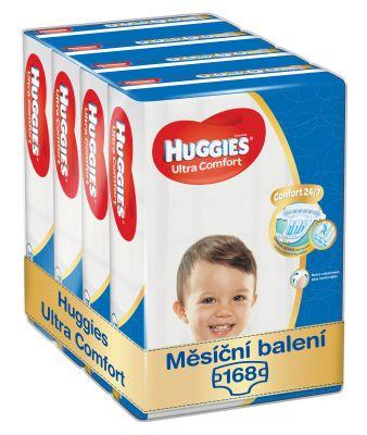 HUGGIES® Ultra Comfort Jumbo 5 (12-22 kg) Měsíční zásoba (168 ks) – jednorázové pleny