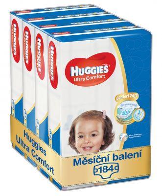 HUGGIES® Ultra Comfort Jumbo 4+ (10-16 kg) Měsíční zásoba (184 ks) – jednorázové pleny