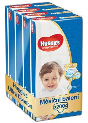 HUGGIES® Ultra Comfort Jumbo 4 (8-14 kg) Měsíční zásoba (200 ks) – jednorázové pleny