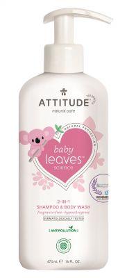 ATTITUDE Dětské tělové mýdlo a šampon 2v1 Baby leaves bez vůně  473 ml