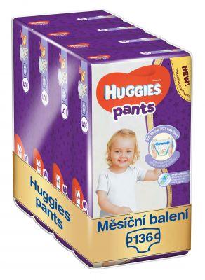 HUGGIES® Pants Jumbo 5 (12-17 kg), MĚSÍČNÍ ZÁSOBA 136 ks - plenkové kalhotky