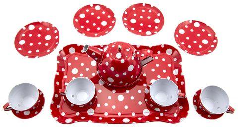 TEDDIES Plechové nádobí červené
